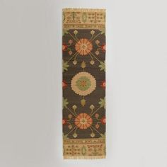 One of my favorite discoveries at WorldMarket.com: 2.5'x 8' Floral Medallion Flat-Woven Floor Runner