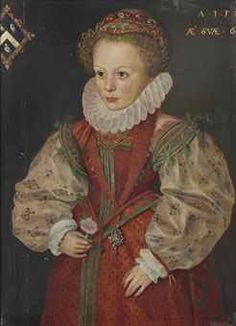 English School, 16th Century  | Portrait of a young girl from the Prescott or Hewitt family, three-quarter-length, in a red dress with lace ruff and gold chains, a carnation in her right hand | Christie's