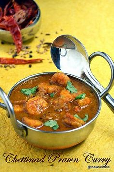Chettinad cuisine is something that if you try once you will be hooked to it provided you eat spicy food. I always liked chettinad recip. Veg Recipes, Spicy Recipes, Curry Recipes, Seafood Recipes, Cooking Recipes, Recipies, Vegetarian Recipes, Indian Prawn Curry Recipe, Indian Prawn Recipes
