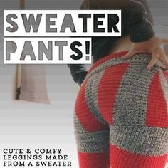 a year of handmade: diy sweater pants aka swants could make skinny sweats this way too…. interesting Don't know if I like them or not. Diy Clothes Tutorial, Skirt Tutorial, Diy Fashion Tops, Fashion Ideas, Women's Fashion, Fashion Clothes, Fashion Pants, Trendy Fashion, Fashion Design