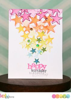 Create a rainbow focal point with lots of repeated stars. Winnie & Walter limited time free stamp set.