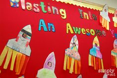 Cute display for classroom Reading is out of this world!
