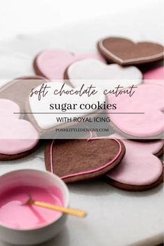 Recipe and instructions for soft chocolate cut out sugar cookies with royal icing. Dairy free with a gluten free option! Recipe and video included!