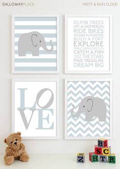 Baby Boy Nursery Art Prints Chevron Elephant Playroom Art Kids Boys Wall Art Room Decor Nursery Quotes Inspirational Playroom