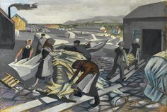 """Modern British Art by Alan Sorrell: """"Processing the Catch, Wharf Scene, Iceland, Tate Gallery, How To Make Drawing, The Spectator, Royal College Of Art, Mural Painting, Art Paintings, Historical Art, Illustrations And Posters, Gouache"""