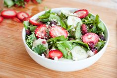 Time to put a little fruit in your salad! This Baby Kale & Strawberry Salad from Eating Bird Food is a great balance of earthy and sweet. Kale is a great alternative to romaine. From My Fitness Pal: Hello Healthy Strawberry Kale Salad, Strawberry Summer, Summer Salad Recipes, Summer Salads, Healthy Summer, Summertime Salads, Summer Food, Soup And Salad, Pasta Salad