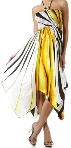 Swirl Design Satin Feel Beaded Halter Smocked Bodice Handkerchief Hem Dress ( Various Colors / Sizes ) $29.99