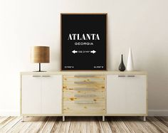 ATLANTA, GEORGIA PRINT - Features City Coordinates + City Area Size.  This listing is for an INSTANT DOWNLOAD of JPEG files of this artwork.  -------  FEATURES: - Two posters in two different colors - Printable at home or through professional print shop - High resolution digital jpg  FILES: - Black: 8 x 10 inches (600 dpi). Scaleable up to 16 x 20 inches - White: 8 x 10 inches (600 dpi). Scaleable up to 16 x 20 inches  -------  If you cant find the city youre looking for, request a custom…