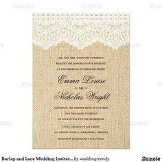 "Burlap and Lace Wedding Invitations 5"" X 7"" Invitation Card"