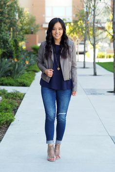 Moto Jacket + Navy Top + Gold Necklace + Distressed Skinnies + Heeled Sandals