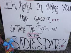 35 Creative Ways To Ask A Guy To Sadies Or Prom Creative Ways To Ask A Guy To Prom. I'm hooked on asking you this question. So take the bait, and be my Sadies date? Asking To Homecoming, Cute Homecoming Proposals, Hoco Proposals, Homecoming Dance, Prom Posals, Formal Proposals, High School Dance, School Dances, Dance Proposal