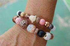 BoHo Chakra Bracelets-Pink and Black Mix-Vintage beads-Buddha Bead Gemstones-24k gold-Gold Triangle