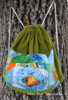 Pikku Akan Tilkkuvakka Working With Children, Drawstring Backpack, Textiles, Good Things, Backpacks, Kids, Crafts, Teaching, Fashion