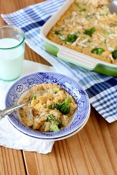 Cheesy Broccoli Quinoa Casserole... I would minus the chicken, but other than that looks good!