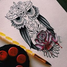 art, desenho, dibujo, draw, drawing, flower, instagram, iphone, owl, rose, tattoo, watercolor, vscocam, dotwork, owltattoo, rosedrawing, dotworkers