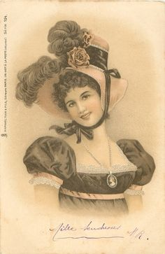 woman in hat trimmed with ostrich feathers & rose faces partly right, looks front