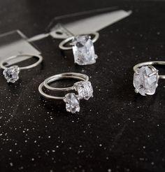 Herkimer Diamond Solitaire Rings