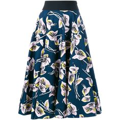 Marni Floral Print Midi Skirt (€440) ❤ liked on Polyvore featuring skirts, patterned skirts, floral knee length skirt, pastel skirt, floral print skirt and blue skirt