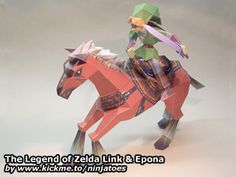 Link & Epona (05-06-2008) from: The Legend of Zelda Ocarina of Time video game / size: ± 35 cm x 8 cm x 22 cm (Link ± 15 cm) Download: parts (3,39 MB PDF file) instructions (2,21 MB ZIP ...