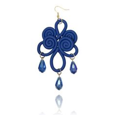 Polymer Clay Chinese Knot Chandelier Earrings Blue