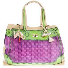 V73 'ratan viola' tote bag ($190) ❤ liked on Polyvore featuring bags, handbags, tote bags, purses, man travel bag, woven tote, tote handbags, pocket tote and travel tote