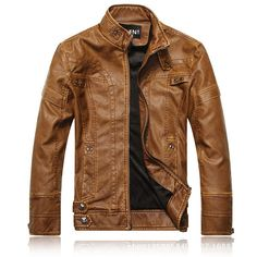 $67.11 Mens Fashion Stand Collar PU Leather Motorcycle Thick Jacket Casual Atumn Winter Coat