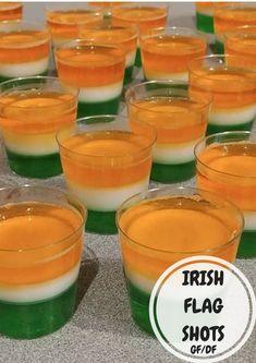 IRISH FLAG SHOTS - Perfect for St. Patrick's Day! Green Jello, Orange Jello, Irish Flag Shot, Best Spinach Dip, Good N Plenty, Cocktail Recipes, Cocktails, Drinks, Soda Bread