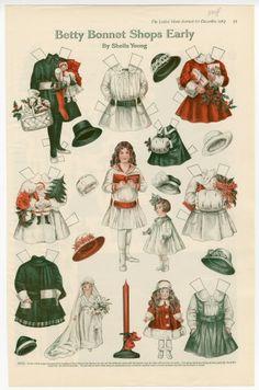 Betty Bonnet Shops Early  paper doll  1917  Artist:  Sheila Young