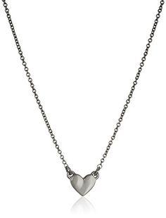 Rebecca Minkoff Hematite Heart Delicate Pendant Necklace,...