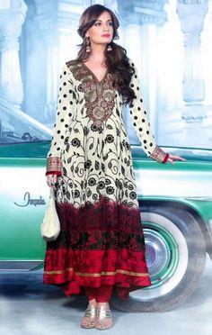 Off White and Red Faux Georgette Bollywood Anarkali Salwar Kameez - IG8454 USD $ 118.09