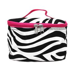 Zebra with Pink Trim Cosmetic Bag