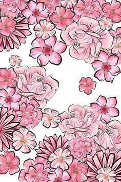 Pink floral by MartaOlgaKlara on We Heart It Pretty Phone Wallpaper, Flower Background Wallpaper, Flower Phone Wallpaper, Cool Wallpaper, Cute Wallpaper Backgrounds, Flower Backgrounds, Cute Wallpapers, Iphone Wallpapers, Flower Vector Art