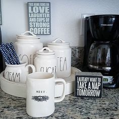 When the coffee is extra hot your know your going to have a good day! Cheers to extra hot coffee! (Why does it make it hotter some days??) Let's see everyone's #coffeebar . anyone can play , no you won't win anything but it will be fun to look! {Canisters and mug from @homegoods designed by @raedunnclay } #homegoodscoffeebar #homegoodshappy #makehomeyours #decor #rustic #fabfound #marshalls #vintage #beautifultreasuresblog #coffee  #interior #target #primitivesbykathy
