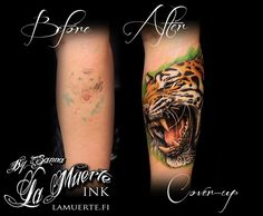 Tiger portrait cover-up tattoo