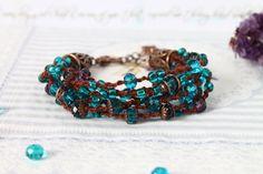 Beaded Turquoise bracelet Boho bracelet Bohemian by byHamelin