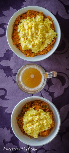 this looks good. zucchini and carrots, topped with scrambled eggs. I could use this on today's cold rainy weather.