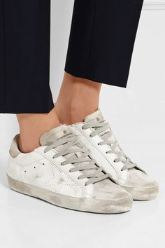 Concealed wedge heel measures approximately 40mm/ 1.5 inches White leather, off-white suede Lace-up front As seen in THE EDIT magazine