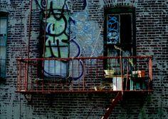 Wall Decal, Manhattan Patio Fire Escape, Graffiti, New York City USA, September 2008