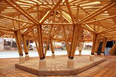 Pergola With Retractable Roof Product – Rooftop Garden Bamboo Structure, Timber Structure, Bamboo Architecture, Architecture Design, Creative Architecture, Wood Arch, Weather Storm, Bamboo Art, Bamboo House