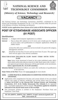National Science & Technology Commission is seeking candidates for ICT / Database Associate Officer positions. Government Jobs, Science And Technology, Positivity, Optimism