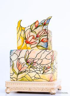 Oven Art Designer Cake, Ovenart Designer Cake, Designer Cake, Oven Art, Elegant Cakes, Hand Painted Cakes, Stained Glass Cake, Stained Glass, Fondant Cakes, Haute Couture