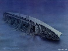 The Andrea Doria --- 29,083 tons, 700 feet long, 250 feet deep --- rests on her wounded starboard side ...