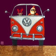 815 Santa Mobiel - Volkswagen bus T1 Kerstkaarten/Christmas Greeting cards | Edart