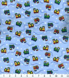 """Snuggle Flannel Fabric 42""""-Choo Choo"""