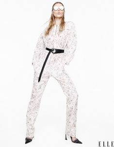 A Dior jumpsuit, sunglasses, earrings, belt, and pumps is featured.