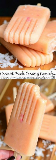 Delicious homemade Creamy Peach Popsicles These fruit pops are easily made and packed with fresh peaches and coconut milk Recipes - Coconut and Peach Creamy Popsicles by willcookforsmiles click now for more. Creamy Popsicles Recipe, Peach Popsicles, Homemade Popsicles, Fruit Popsicles, Coconut Milk Popsicles, Alcoholic Popsicles, Breakfast Popsicles, Coconut Sorbet, Healthy Popsicles