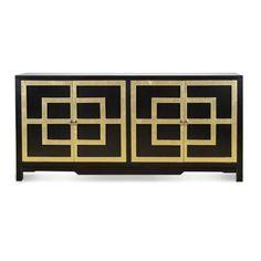 "Four Door Black & Gold Key Cabinet. 72""W x 18""D x 34""H"