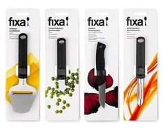 simple and colorful designs/pictures on the packaging. i like that they used pictures of food so that it is easily identifiable as to what the knives are for.