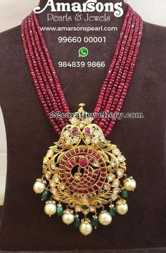 Ruby Long Set by Amarsons Jewellers Ruby Long Set by Amarsons Jewellers Gold Bangles Design, Gold Jewellery Design, Bead Jewellery, Pendant Jewelry, Beaded Jewelry, Ruby Jewelry, Gems Jewelry, Stylish Jewelry, Emerald Pendant