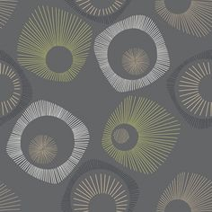 James (269320) - Albany Wallpapers - A fun retro design with four-sided star burst shapes in green, beige and grey on dark charcoal grey with mica highlights. Please request sample for true colour match.